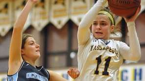 Amanda Bonacasa of Oceanside, left, guards Morgan Camarda