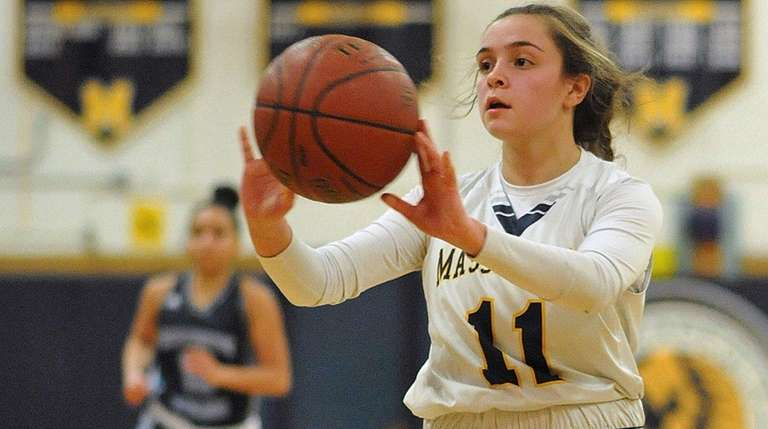 Morgan Camarda of Massapequa makes a pass during
