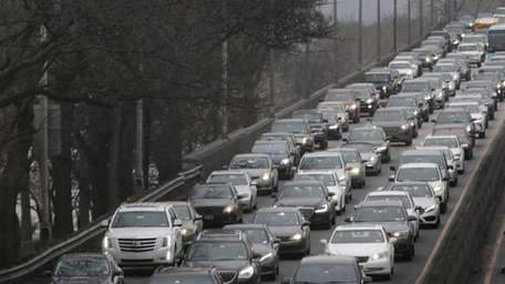 Traffic crawls along the West Side Highway toward
