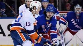 New York Islanders center Mathew Barzal skates with