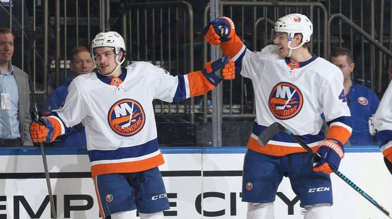 Mathew Barzal of the Islanders celebrates after scoring
