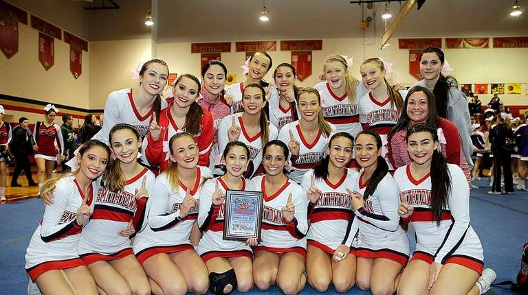 The Smithtown East varsity cheerleaders placed first in