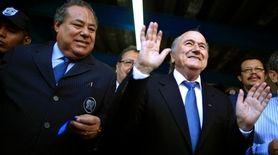Nicaragua Soccer Federation president Julio Rocha, left, and