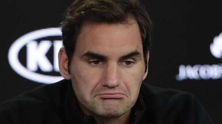 Roger Federer during a press conference ahead of