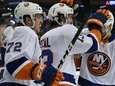 New York Islanders center Mathew Barzal is congratulated
