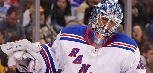 New York Rangers goaltender Henrik Lundqvist collects himself