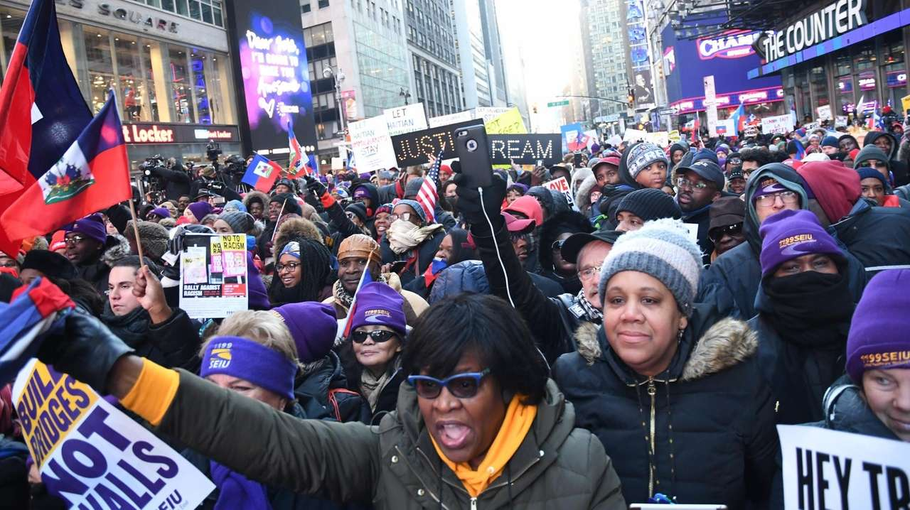 The Rally Against Racism in Times Square on