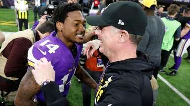 Minnesota Vikings wide receiver Stefon Diggs celebrates with