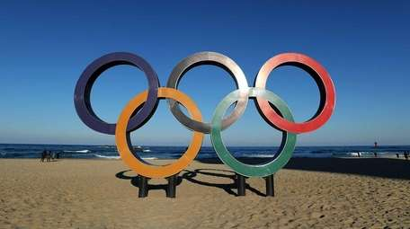 The Olympic Rings on the beach at Gangneung