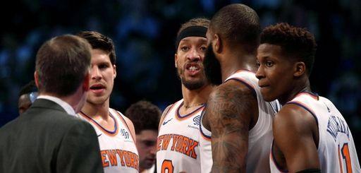 Knicks coach Jeff Hornacek speaks with his team