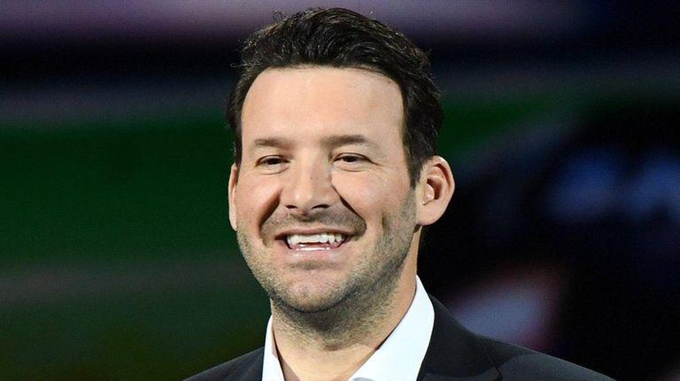 CBS Sports football analyst Tony Romo speaks during
