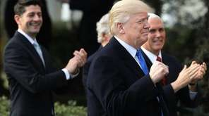 President Donald Trump and Republican congressional leaders hold