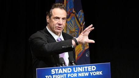 New York Gov. Andrew M. Cuomo delivers his