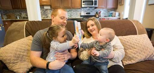 Ally and Dylan McElroy with Kaylee, 2, and
