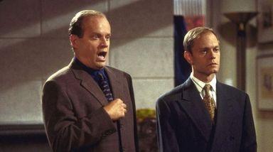 Kelsey Grammer, left, as Frasier Crane, and David