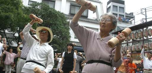 Japan's death rate has surpassed its birthrate. Above,