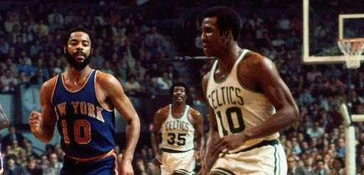 Jo Jo White of the Celtics moves the