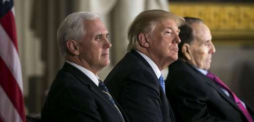 From left, Vice President Mike Pence, President Donald