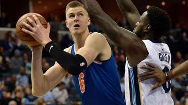 Knicks forward Kristaps Porzingis looks to shoot against