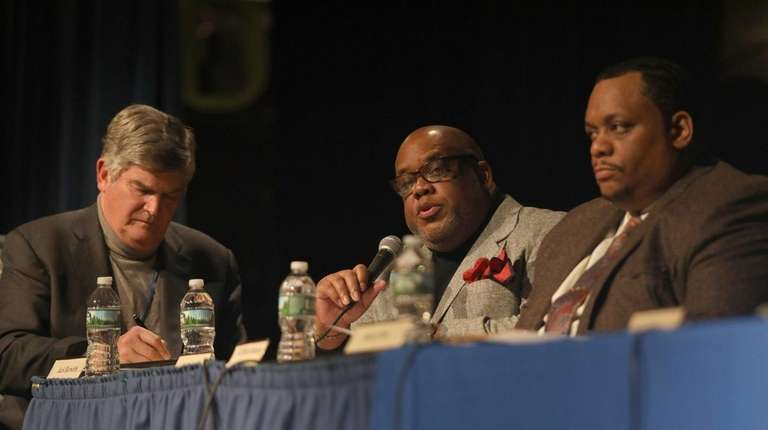 From left, state-appointed consultant Jack Bierwirth, and Hempstead