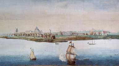 A watercolor made before 1664 shows New Amsterdam