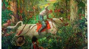 In Robert Gaston's 1939 mural, Richard Smith rides