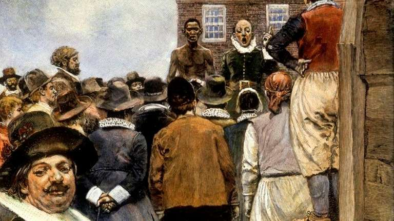 An illustration of a 1600s slave auction in