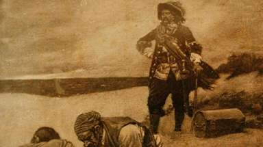 A magazine illustration shows Capt. William Kidd's men