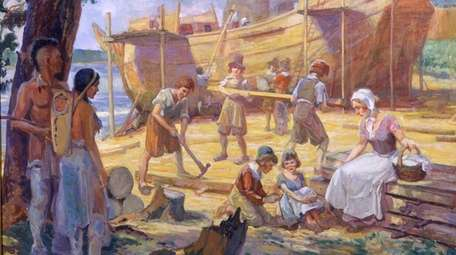 An oil painting by G. Moore shows shipbuilding