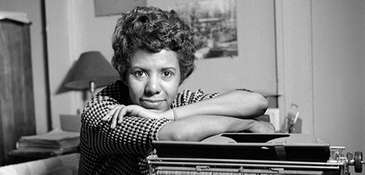 Lorraine Hansberry in her Greenwich Village apartment on