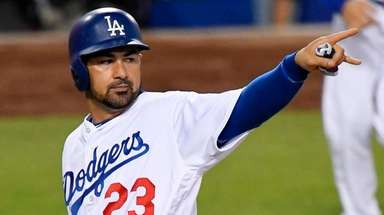 Los Angeles Dodgers' Adrian Gonzalez on Aug. 9,