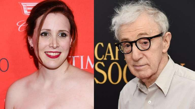 Dylan Farrow and Woody Allen at separate New