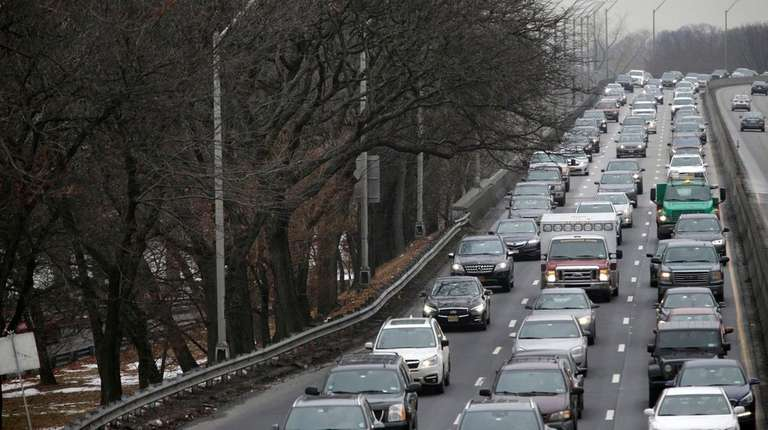 Traffic jams the southbound West Side Highway in
