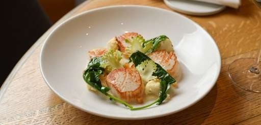 Shinnecock Bay scallops with cauliflower and spigarello served