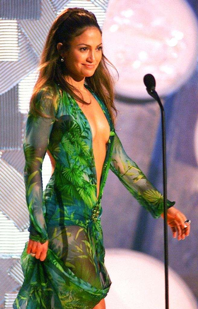 Jennifer Lopez wearing a sheer, low-cut silk chiffon
