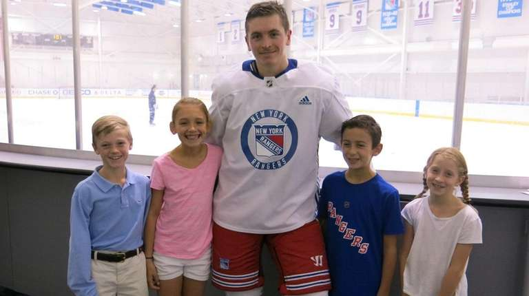 Rangers left winger Jimmy Vesey with Kidsday reporters