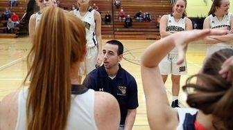 Shoreham-Wading River's girls varisty basketball head coach Adam