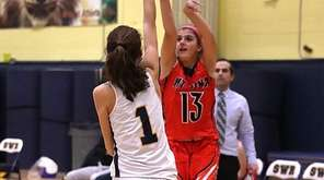 Mt. Sinai's Brooke Cergol shoots the three-pointer with