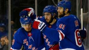 Rick Nash of the Rangers celebrates his third-period