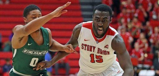 Stony Brook guard Akwasi Yeboah drives to the
