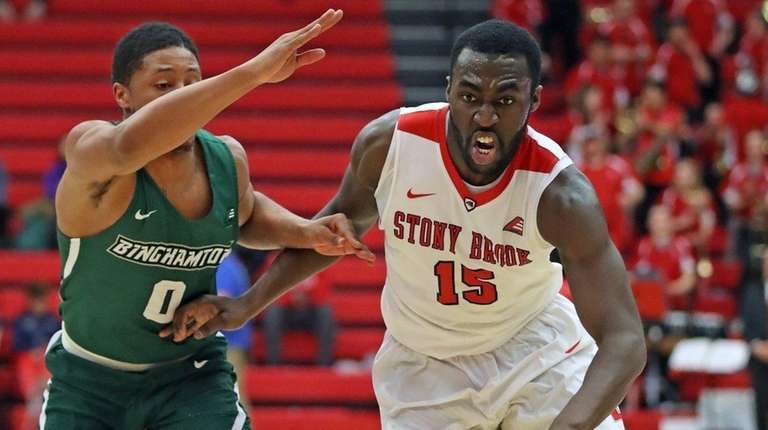 Stony Brook guard Akwasi Yeboah drives to the