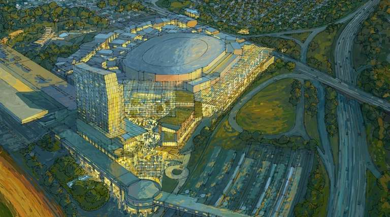 A rendering of the new Belmont Park. State-owned
