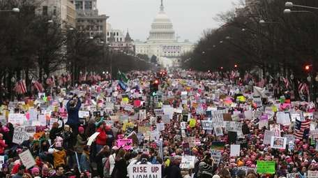 Protesters walk during the Women's March on Washington