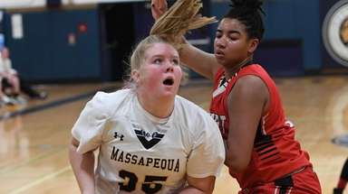 Massapequa center Meghan Wildes looks before she shoots