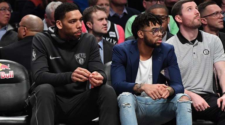Nets center Jahlil Okafor left and Nets guard