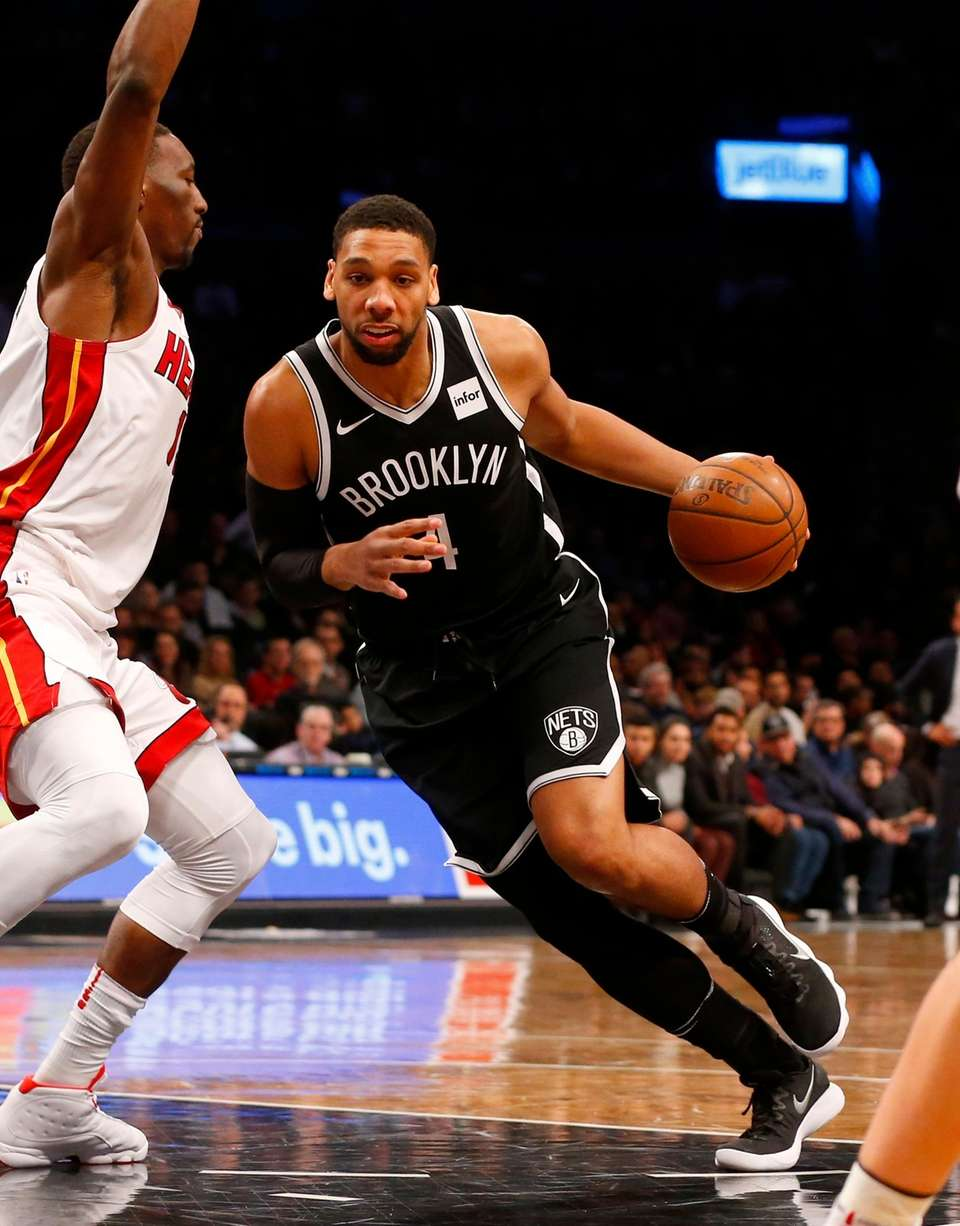 Jahlil Okafor #4 of the Brooklyn Nets drives