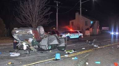 A Suffolk County police vehicle was hit by