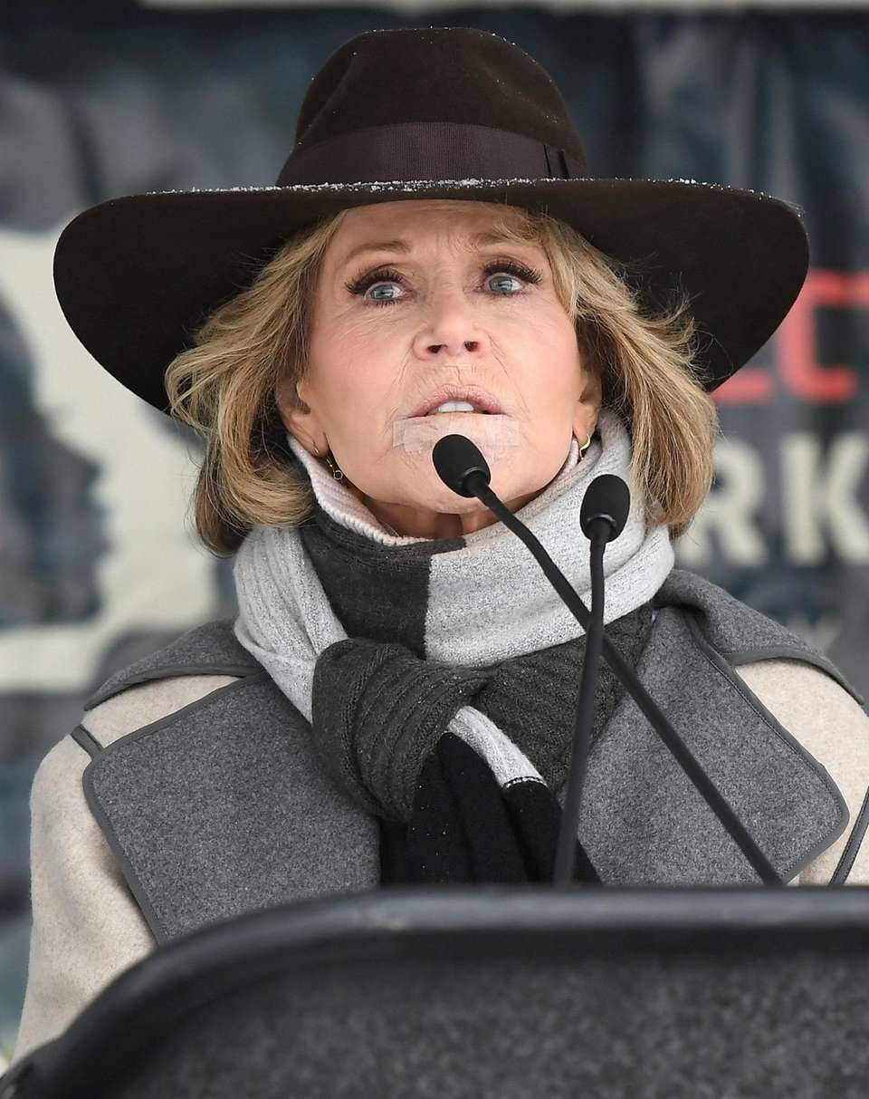 Activist and actress Jane Fonda speaks at Rally