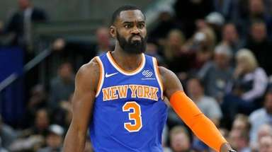 Knicks forward Tim Hardaway Jr. celebrates after scoring