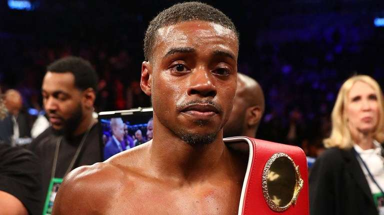 Errol Spence poses after his TKO in the
